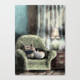cat and pup together Canvas Print