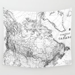Vintage Map of Canada (1898) BW Wall Tapestry