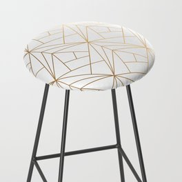 Geometric Gold Pattern With White Shimmer Bar Stool