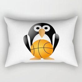 Funny penguin with a basketball ball Rectangular Pillow