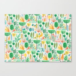 Jungle life with golden unicorn Canvas Print