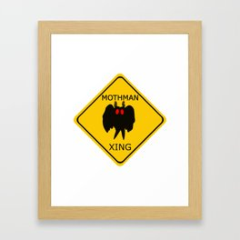 Mothman crossing sign with red eyes Framed Art Print