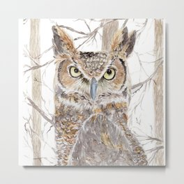 """Watercolor Painting of Picture """"Owl in the Forest"""" Metal Print"""
