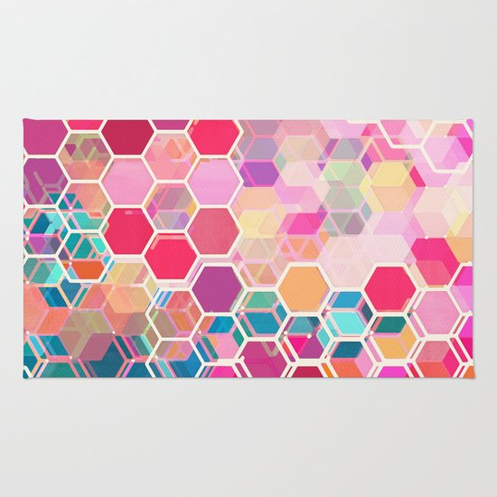 Rainbow Honeycomb Colorful Hexagon Pattern Rug By