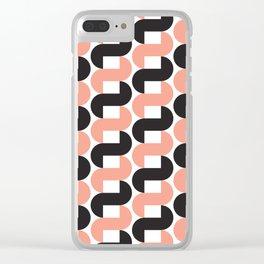 Geometric Pattern #184 (pink black knots) Clear iPhone Case