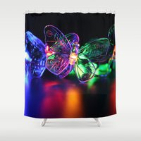 rave Shower Curtains featuring Rave Butterflies by Laurais Arts