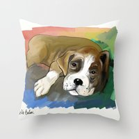 boxer Throw Pillows featuring Boxer by Michelle Behar