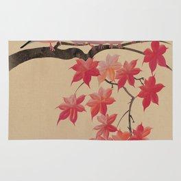 Java Sparrows in Japanese Maple Tree Rug