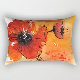 Red Poppy Flowers Watercolor Painting Rectangular Pillow