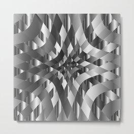Silver metal background chrome texture Metal Print