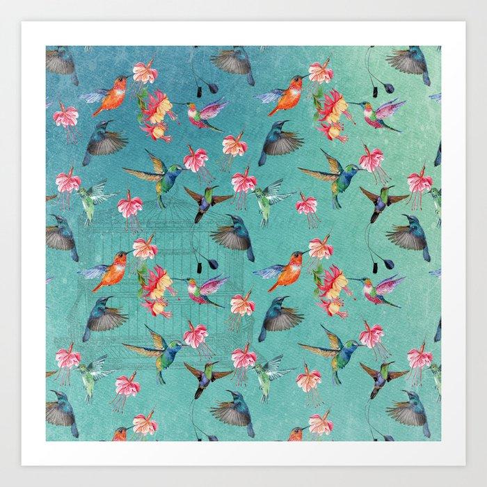 Vintage Watercolor hummingbirds and fuchsia flowers Kunstdrucke
