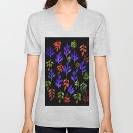 180726 Abstract Leaves Botanical Dark Mode 24 |Botanical Illustrations Unisex V-Neck