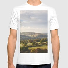 Sunset over trees in the valley. Derbyshire, UK. Mens Fitted Tee MEDIUM White