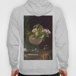 Still Life With Apple Blossoms In A Nautilus Shell 1870 By Martin Johnson Heade | Reproduction Hoody