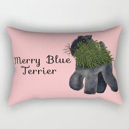 Merry Blue Terrier (Pink Background) Rectangular Pillow
