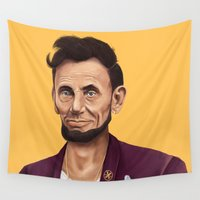 lincoln Wall Tapestries featuring Hipstory -  Abraham Lincoln by Amit Shimoni