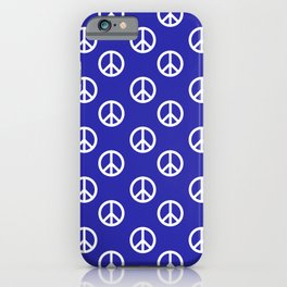 Peace (White & Navy Blue Pattern) iPhone Case