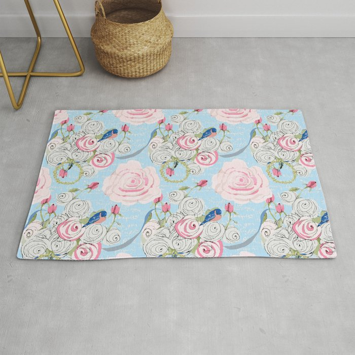Bluebirds And Watercolor Roses On Pale Blue With White French Script Rug By Karen