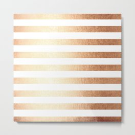 Simply Striped Deep Bronze Amber Metal Print