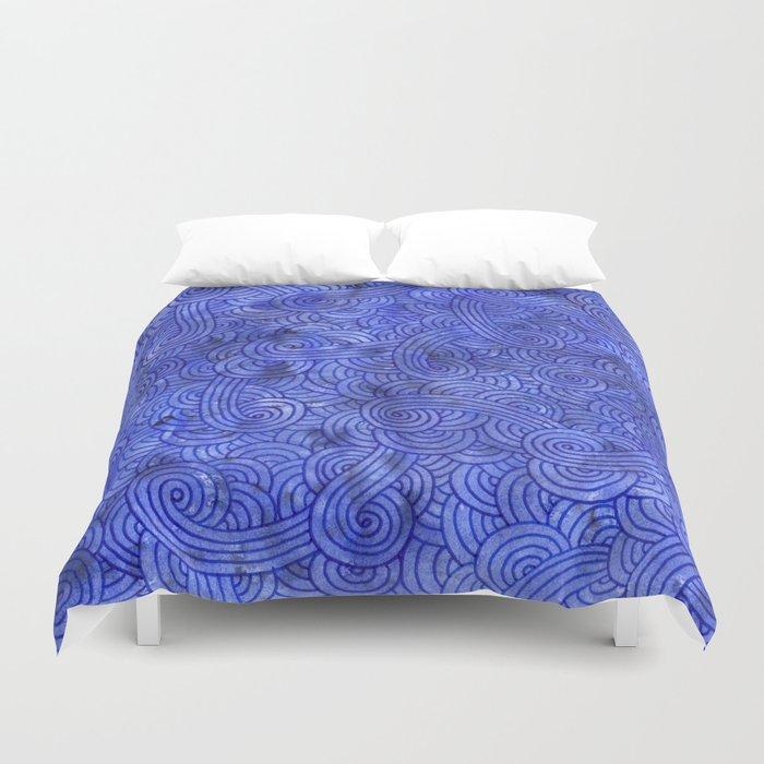 Royal blue swirls doodles Duvet Cover