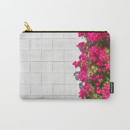 Bougainvilleas and White Brick Wall in Palm Springs, California Carry-All Pouch