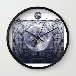 Water Nymphs and Moon Wall Clock