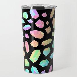 Rainbow Crystal Pattern on Black Travel Mug
