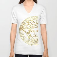 versace V-neck T-shirts featuring Medusa by InteriorEpiphanies