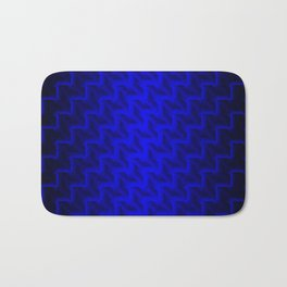 Glowing wicker pattern of blue squares and rhombuses with volumetric triangles. Bath Mat