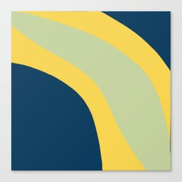 Navy Blue, Yellow and Sage Abstract Shapes Canvas Print