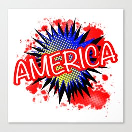America Red White And Blue Cartoon Exclamation Canvas Print