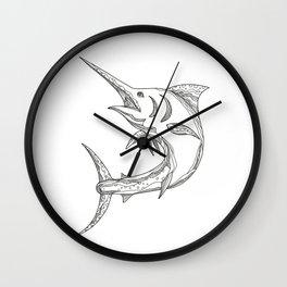 Atlantic Blue Marlin Doodle Wall Clock