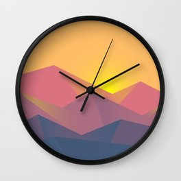 Mountain Sunset Illustration Wall Clock