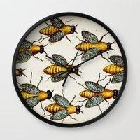 medieval Wall Clocks featuring Medieval Swarm by Vintage Avenue