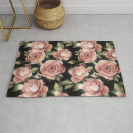 Classic Pink Roses On Black Rug
