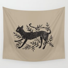 Cat in Vines Wall Tapestry