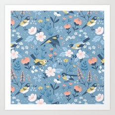 Birds & Blooms (Blue) Art Print