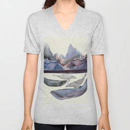 Whales Swiming under the Moutains Unisex V-Neck