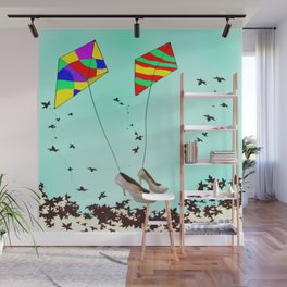 Flying Kites in May with May - shoes stories Wall Mural
