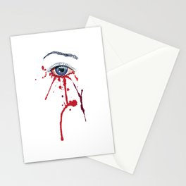 Blue eye with red paint Stationery Cards