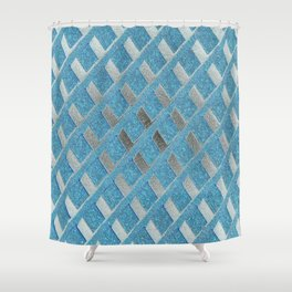 Blue Grill Abstract Shower Curtain
