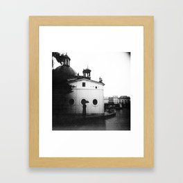 Rain in Krakow, Poland - Holga Black and White Framed Art Print