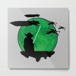 Yoda Moonglow Metal Print