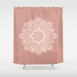 Flower Mandala in Peach and Powder Pink Shower Curtain