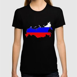 Russia Map with Russian Flag T-shirt