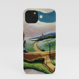 American West Classical Masterpiece 'Trains Colliding' by Thomas Hart Benton iPhone Case