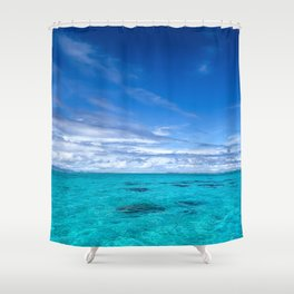 South Pacific Crystal Ocean Dreamscape with Boat Shower Curtain