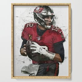 Tom Brady Art Poster Tam-pa Bay Buccaneers Football Hand Made Posters Canvas Print Kids Wall Art Man Cave Gift Home Decor Serving Tray