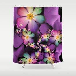 Rainbow Flowers Growing in Purple Clouds Shower Curtain