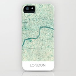 London Map Blue Vintage iPhone Case